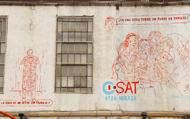 Illustrated mural for ISAT tv channel as part of an action on KONEX cultural center