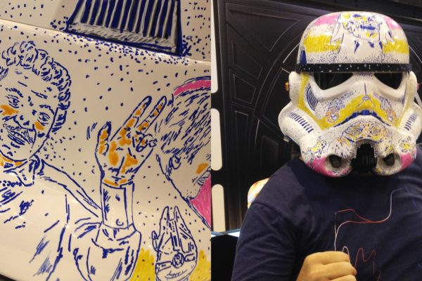 Live painting on a Stormtrooper helmet for the Star Wars commemoration day, at Shopping Abasto.