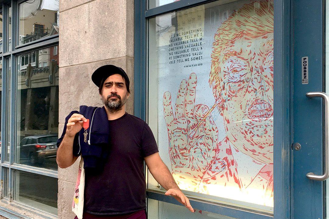 at the gallery door